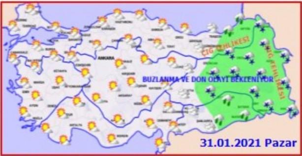 Foto - Karadeniz'de Zonguldak, Bolu, Kastamonu boyunca yağmurlu bir hava hakim olacak. Samsun-Rize boyunca hava parçalı bulutlu ve ılık, 16 derecelerde seyredecek. Doğu Anadolu'da sis ve don etkisini sürdürüyor. Erzurum -1, Malatya 5 derece. Gece kars -20 derece.