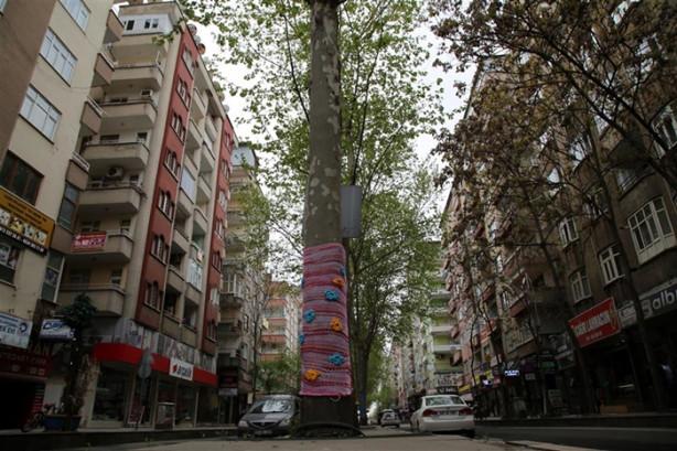 İçişleri Bakanlığınca görevlendirme yapılan Diyarbakır Büyükşehir Belediyesinde çalışan 5 kadın tarafından hazırlanan rengarenk örgüler, çınar ağaçlarına giydirildi.