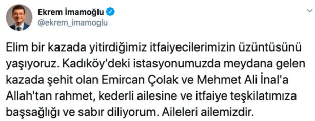Foto - İmamoğlu, mesajında şu ifadelere yer verdi: