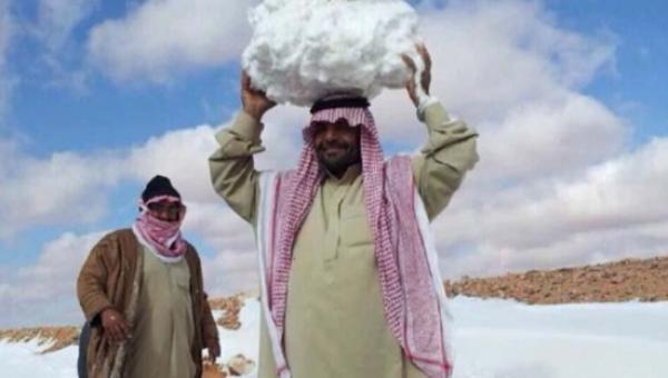 Çöl ikliminin hâkim olduğu Suudi Arabistan'da kar yağdı!