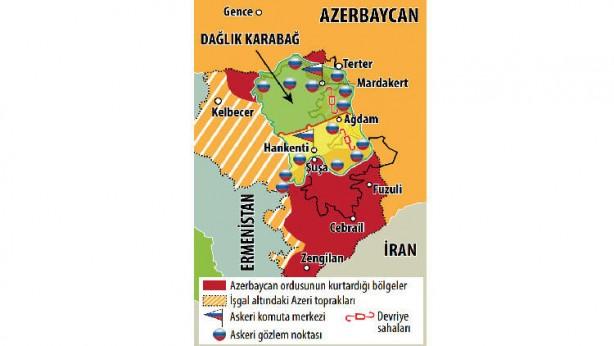 Foto - RUSYA'DAN KARABAĞ BARIŞ GÜCÜ HARİTASI Bakü ve Erivan yönetimleri arasında yapılan Dağlık Karabağ anlaşmasının ardından Rus askerleri, Ermenistan'ı Karabağ'a bağlayan kritik Laçin koridoruna ulaşarak bölgede kontrolü ele aldı. Gelişme öncesinde Rusya Savunma Bakanlığı, bölgeye gönderdiği barış gücü kuvvetlerinin nerelere konuşlandırılacağına dair ilk kez harita paylaştı.