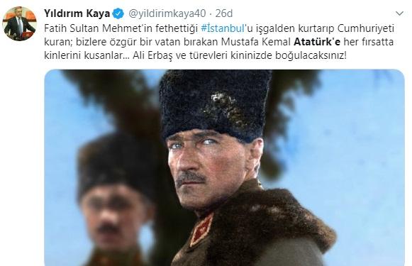 Foto - Devlet malına zarar vermesiyle akıllara kazınan CHP Genel Başkan Yardımcısı Yıldırım Kaya, Diyanet İşleri Başkanı Erbaş'a saygısızlık yaparak