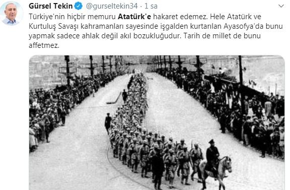 Foto - CHP'li Gürsel Tekin, M. Kemal'e hakaret ettiği iddiasında bulunduğu Ali Erbaş'a hakaret yağdırdı.