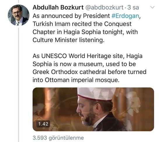 Foto - Sabah'ın haberine göre; sosyal medya hesabından İngilizce yazdığı iletisinde Abdullah Bozkurt şu cümleleri kullandı: