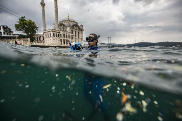 Foto - Ercümen, 1 Temmuz Denizcilik ve Kabotaj Bayramı dolayısıyla Kıyı Emniyeti Genel Müdürlüğü ekiplerinin desteğiyle İstanbul Boğazı'ndaki yaşamı ve kirliliği gözlemlemek için ilk dalışını gerçekleştirdi.