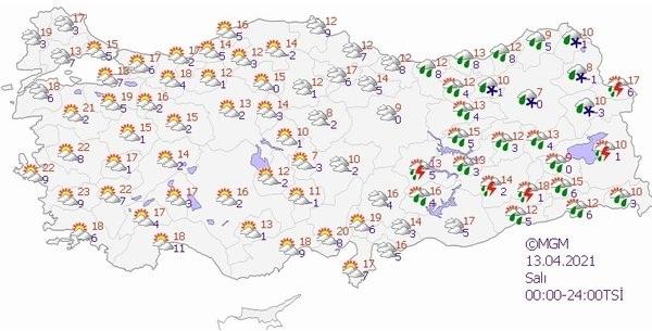 Foto - Salı günü genellikle İç Anadolu'da etkili olan kar yağışı bölgeyi terk ediyor. Yurdun batı kısmında güneşli bir hava etkili olacak. Sivas ve Erzurum'da kar yağışı bekleniyor. İzmir'de hava sıcaklığı 23 dereceye kadar çıkacak. Bayburt, Ardahan, Kars, Ağrı, Bitlis ve Van'da karla karışık yağmur etkili olacak.