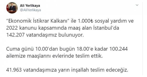 Foto - İstanbul Valisi Yerlikaya Twitter hesabından yaptığı açıklamada şu ifadelere yer verdi;