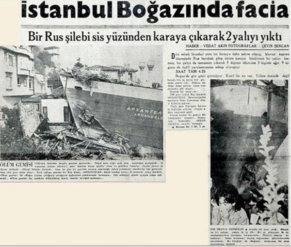 Foto - 13 MART 1994 100.000 ton petrol taşıyan Kıbrıs Rum Kesimi bandıralı Nassia tankerinin bir kuru yük gemisi ile İstanbul boğazında çarpışması sonucu büyük bir yangın çıktı. 30 kişi hayatını kaybetti. Denize 20 000 ton petrol dökülmüş olup Nassia yara alarak infilak etti. Tanker günlerce yanarak İstanbul'u tehdit etti. Çevre ve hava kirliliği meydana geldi.