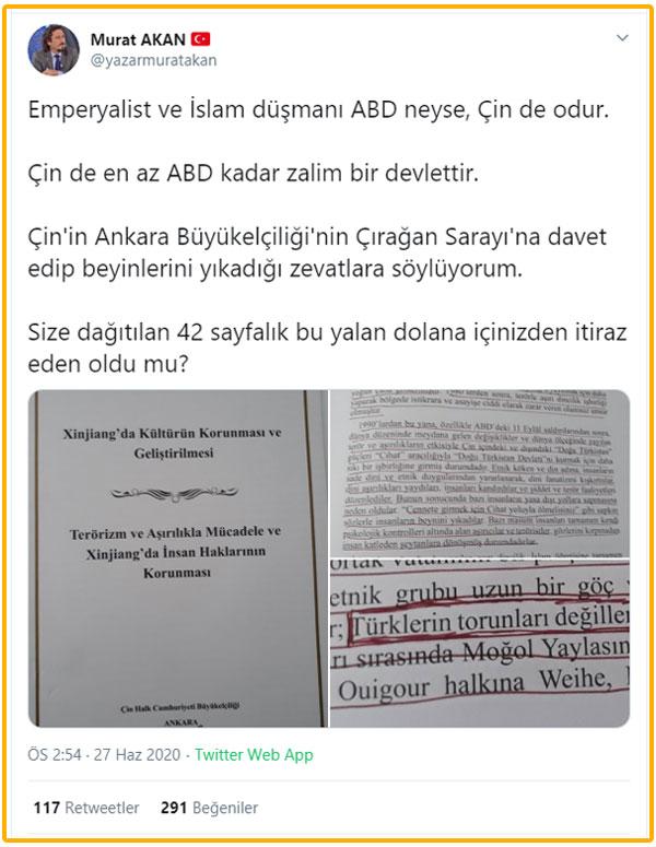 Foto - Çin Ankara Büyükelçiliği'nin Çırağan Sarayı'nda düzenlediği etkinlikte dağıttığı bir broşür büyük tepkiye neden oldu.