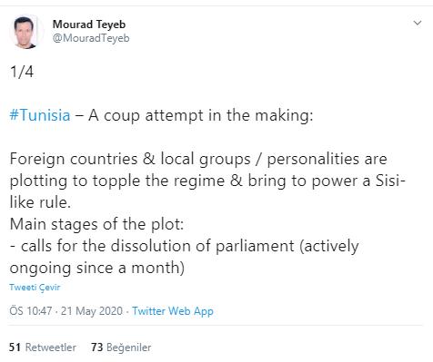 Foto - Alabarda'nın paylaştığı Tunuslu olduğu tahmin edilen Mourad Teyeb isimli gazetecinin İngilizce tweet dizininde, çarpıcı iddialar dile getiriliyor.