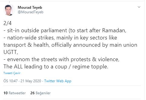 Foto - Devrimden önceki Zeynel Abidin Bin Ali rejiminin destekçilerinin karşı devrim yapmak için harekete geçtiğini belirten gazeteci, medyanın hükümeti hedef alan yayınlarda bulunduğunu söylüyor.