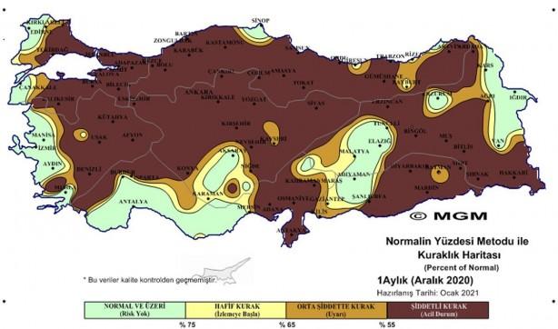 Foto - Meteoroloji Genel Müdürlüğü, Standart Yağış İndeksi (SPI – Standardized Precipitation Index) ve Normalin Yüzdesi (PNI – Percent of Normal Index) 2020 yılı kuraklık haritalarında aralık ayında Ege, Akdeniz, Güneydoğu, Doğu Anadolu, Trakya ve Karadeniz'in bazı bölgeleri haricinde; Türkiye'nin önemli bölümünün yağış almadığı, aralık ayı ile son 3 ve 6 aylık dönem haritalarında da 'olağanüstü ve şiddetli kuraklık' görülüyor.