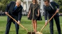 Trump ile Macron ağaç dikti