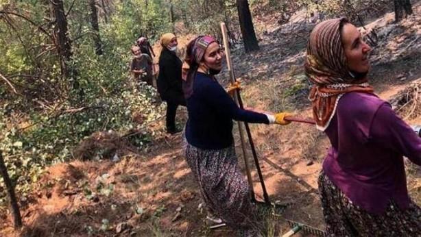 Foto - Antalya'nın Gündoğmuş ilçesindeki yangından orman yangınına müdahalede kadınlar ön cephede yer aldı.
