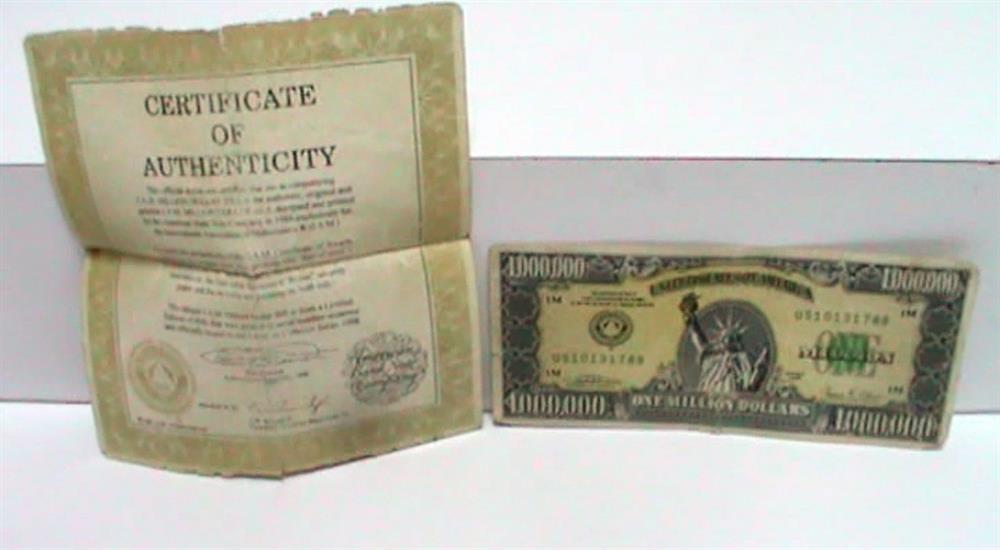 ABD Merkez Bankası tarafından koleksiyon amacıyla sınırlı sayıda basılan 1 milyon dolarlık banknot