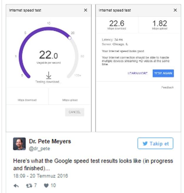 google internet hız testi