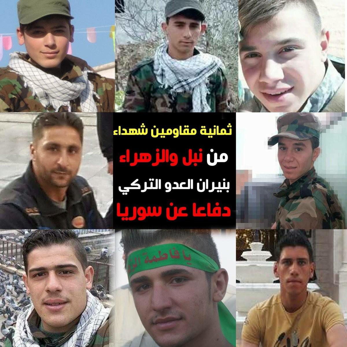 6 Mart'ta terör örgütü PKK'ya yardım için Raco bölgesine gelen İran destekli Şii milisler Türk Silahlı Kuvvetleri bombardımanında öldürülmüştü.Geçtiğimiz günlerde Halep'te gömülen teröristlerin kimlikleri belli oldu.Esed rejimine bağlı Şii Milisler Mehmetçik tarafından Afrin'de öldürülen milislerin fotoğraflarını yayınladı.