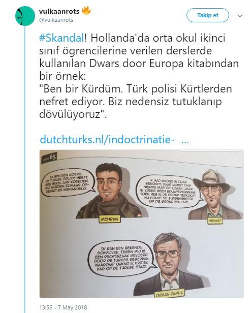 """Hollandiyada 2-ci sinif şagirdlərinin dərs kitabında rəzil kaikatura : """"Mən kürdəm, türk polisi kürdlərə nifrət edir, döyür"""" (Foto)"""