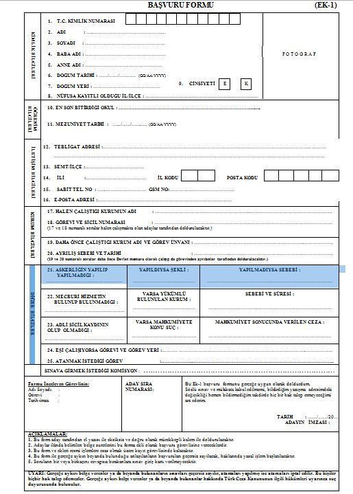 gardiyan alimi 2018 basvuru formu