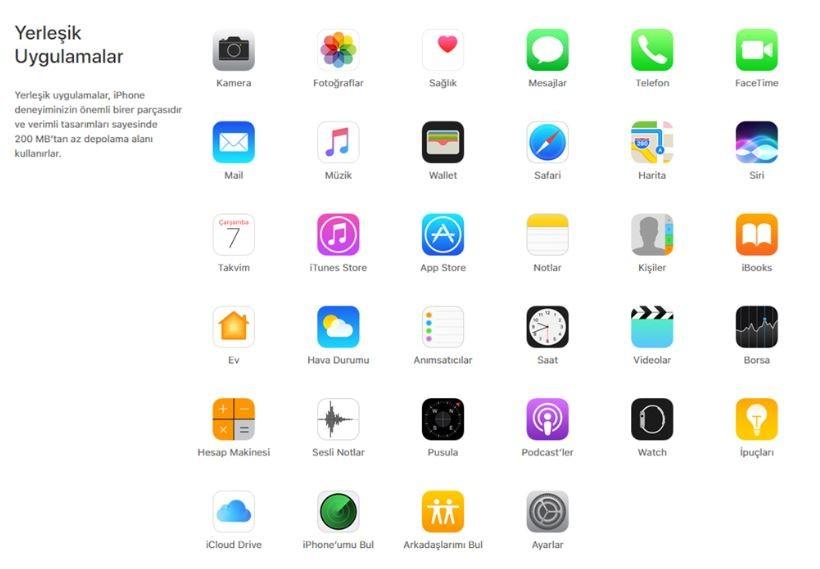 iphone 7 yerleşik uygulamaları