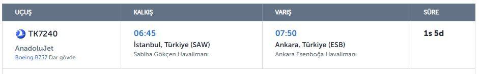 istanbul ankara uçak bilet fiyatları ve detayları