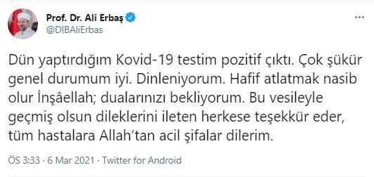 1615034381 22f176 Diyanet İşleri Başkanı Ali Erbaş'tan Kötü Haber ! 1