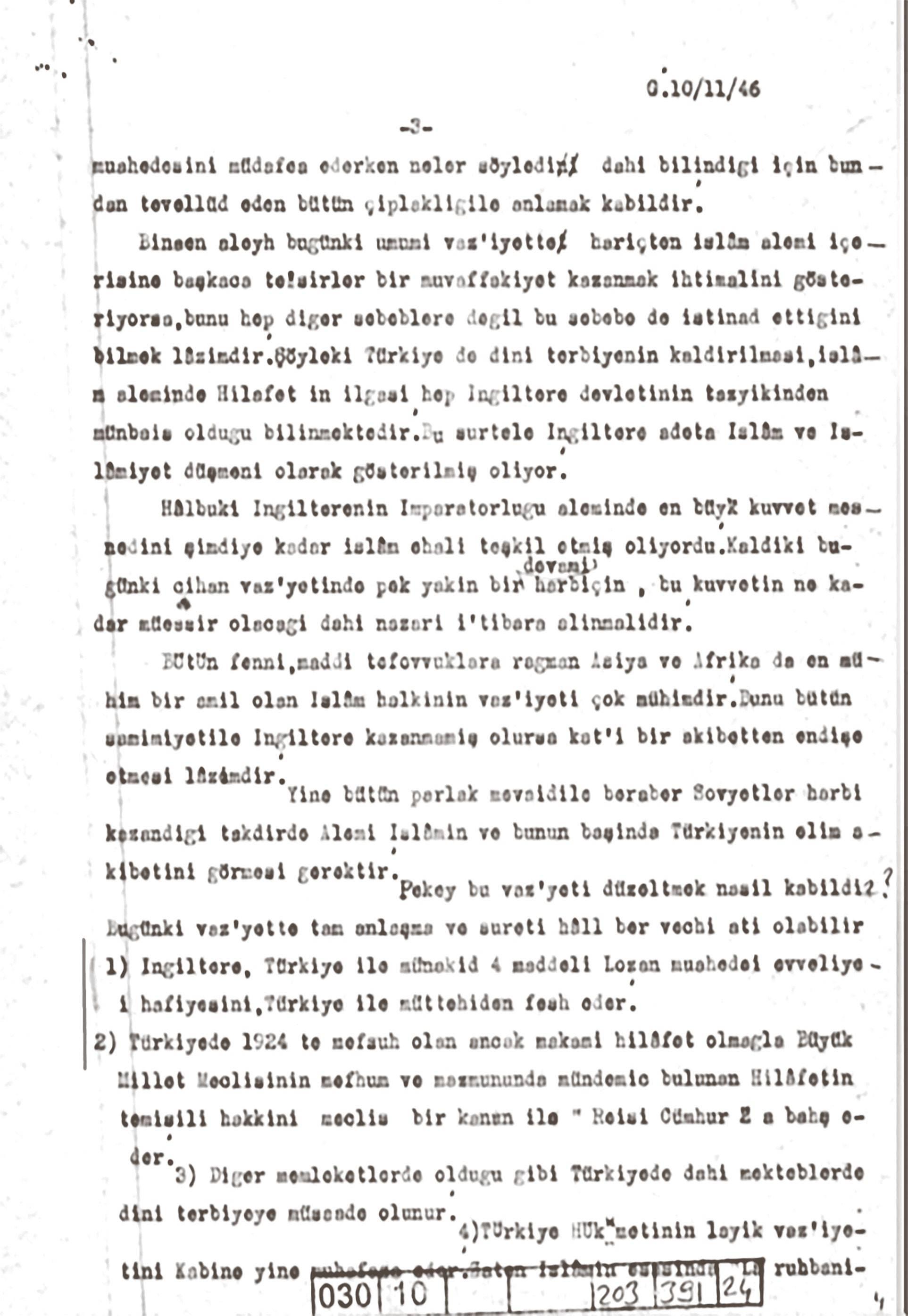 Kemal Ohri'nin Cumhurbaşkanı İnönü'ye gönderdiği Hilafet mektubunun ilgili sayfası