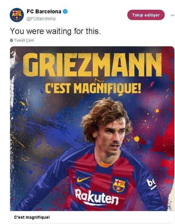 Barcelona resmi Twitter hesabı böyle duyurdu