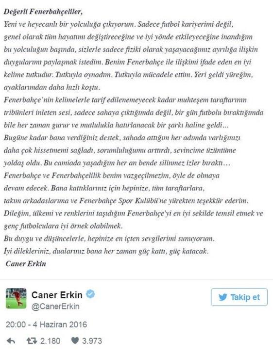Caner Erkin, Fenerbahçe'den Inter'e giderken bu veda mesajını yayınlamıştı.