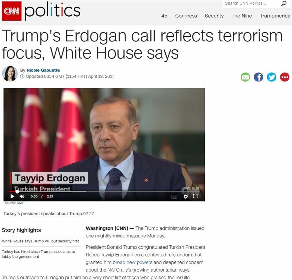 CNN, ABD Başkanı Donald Trump'ın, Cumhurbaşkanı Recep Tayyip Erdoğan'ı aramasına ilişkin karalama haberler yaptı. CNN, Trump'ın Erdoğan'ı tebrik etmekten ziyade, bölgesel konuların ele alındığını savunarak referandum sonuçlarını gölgede bırakmaya çalıştı.