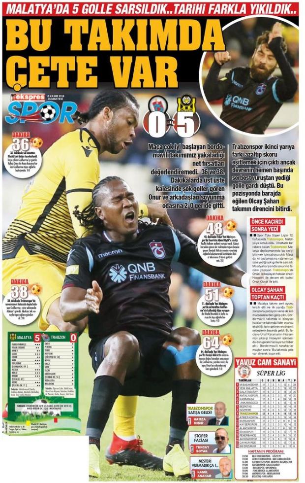 """Kuzey Ekspres gazetesi, """"Bu takımda çete var"""", """"Malatya'da 5 golle sarsıldık, tarihi farkla yıkıldık"""" başlıklarıyla haberi okuyucularına aktardı."""