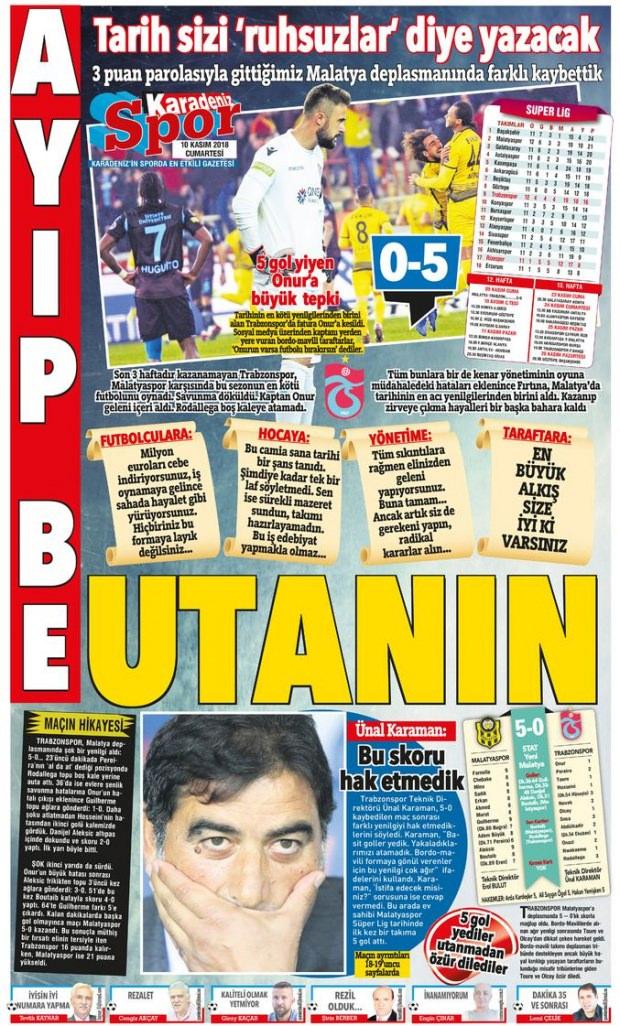 """Karadeniz gazetesi, """"Ayıp be utanın"""", """"Tarih sizi 'ruhsuzlar' diye yazacak"""" başlıklarıyla haberi okuyucularına aktardı."""