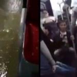 İstanbul'da metrobüsü su bastı!