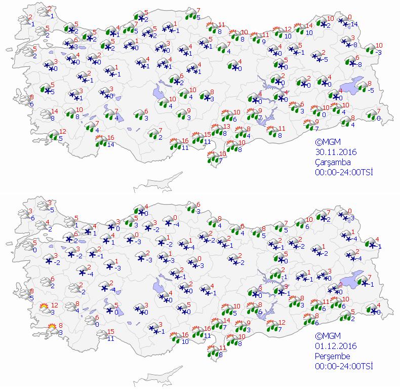 Meteoroloji Genel Müdürlüğünün yarın ve Perşembe günü için hava durumu tahmin haritası.
