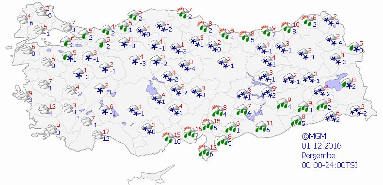 Meteoroloji Genel Müdürlüğünün bugün için hava durumu tahmin haritası.