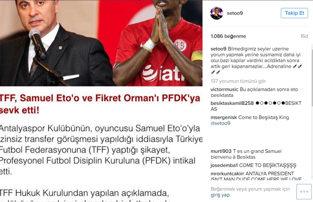 Samuel Eto'o nun paylaşımı transfer iddialarını tekrar gündeme getirdi.