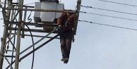 Ölüm elektrik direğinde yakaladı