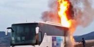 Otobüs seyir halindeyken alev alev yandı!