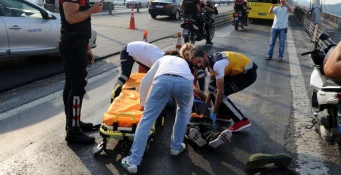 15 Temmuz Şehitler Köprüsü'nde motosiklet kazası