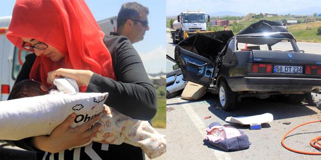 2 kişi öldü, 2 günlük bebek ise yola fırladı!