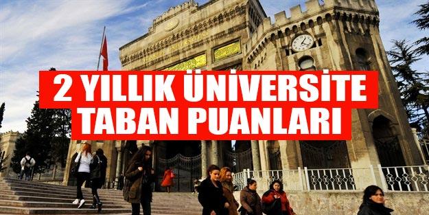 2 yıllık üniversite taban puanları 2019