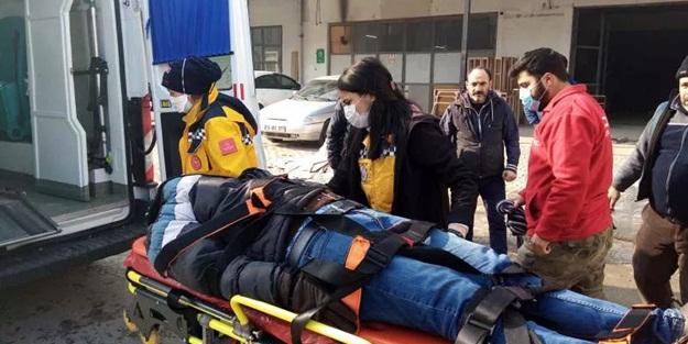 300 kiloluk sünger kalıbı, yoldan geçen motosikletlinin üzerine düştü