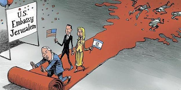ABD ve İsrail katliamı karikatürlerle anlatıldı