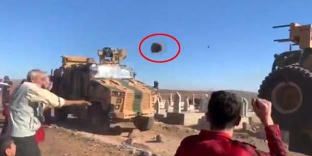 ABD'nin kucağından inmeyen YPG'li teröristler Türk askerini taşladı