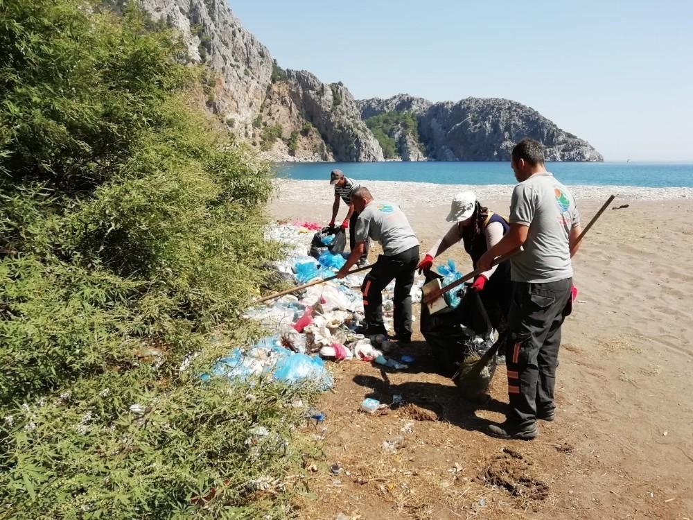 Adrasan Sazak Koyunda çöp temizliği