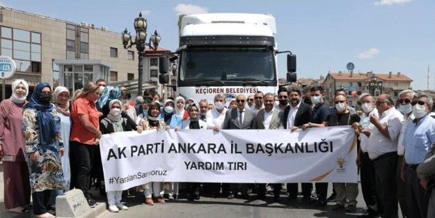 AK Parti Ankara İl Başkanlığı'ndan yangın bölgelerine 35 tırlık yardım malzemesi