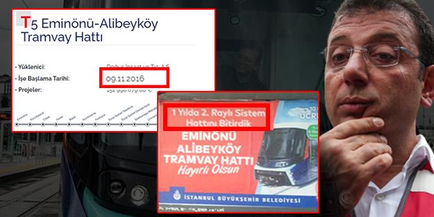AK Parti'nin yaptığı Eminönü-Alibeyköy tramvay hattını Ekrem İmamoğlu sahiplendi!
