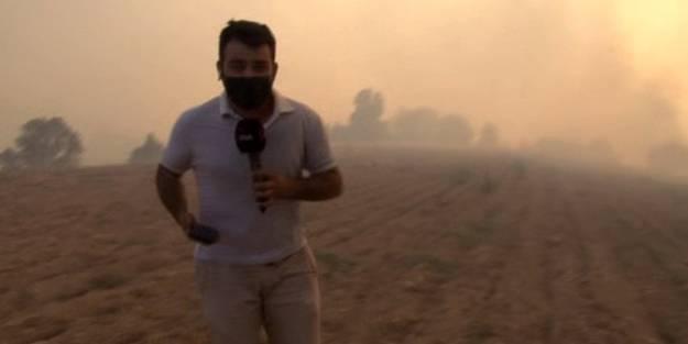 Alevlerin ortasında kalan İHA muhabirleri yanmaktan son anda kurtuldu!