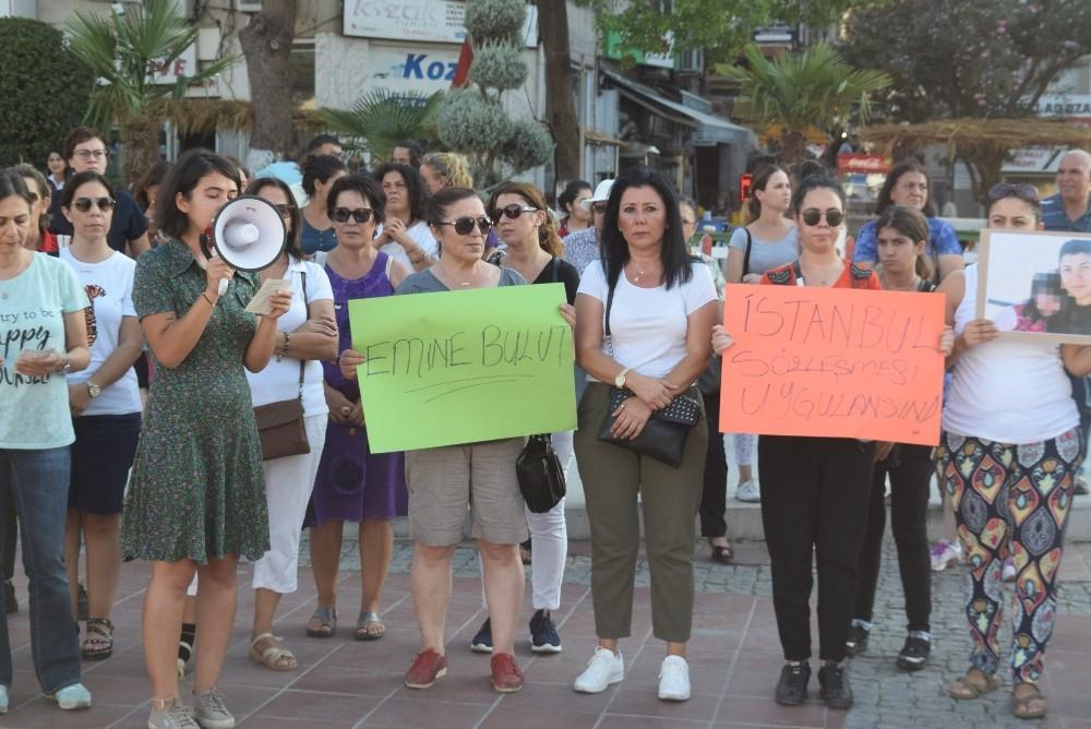 Aliağalı kadınlar Emine Bulut cinayeti için toplandı