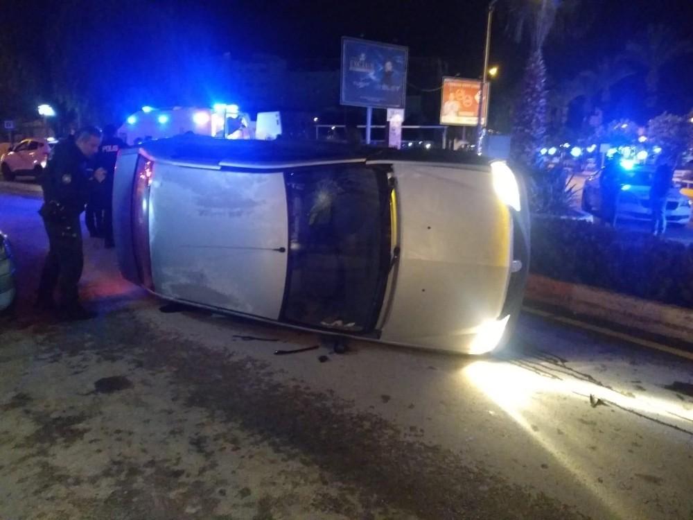 Alkollü sürücü düz yolda takla attı